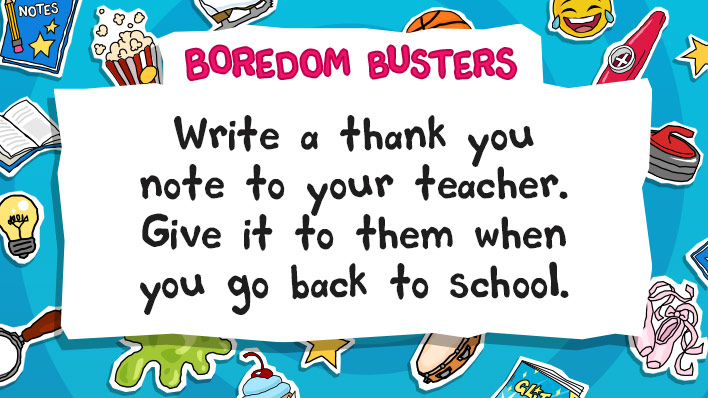 Write a thank you note for your teacher